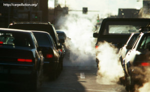Car fumes being caused by stationary vehicles